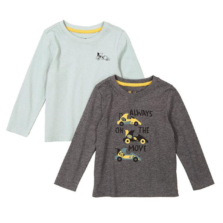 Young Original Toddler 2 Pack Long Sleeve Tees, Charcoal, hi-res