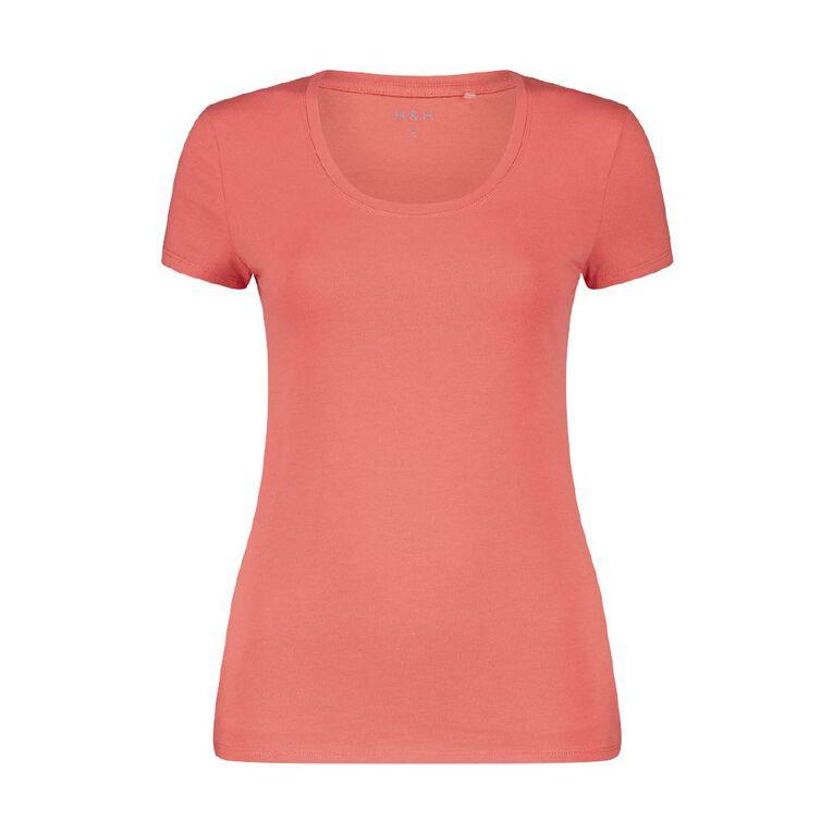H&H Women's Scoop Neck Short Sleeve Tee, Red Light, hi-res