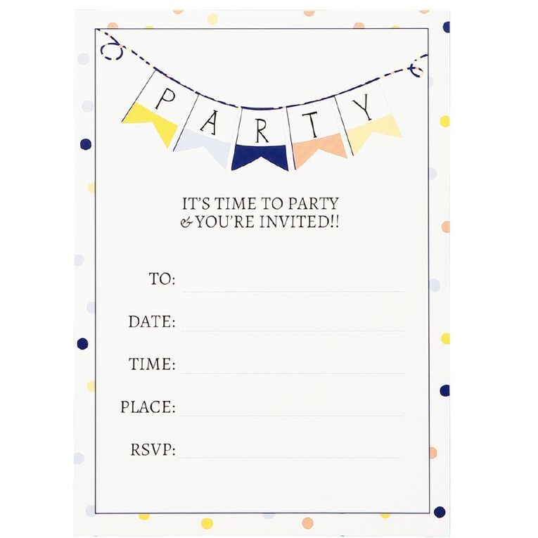 Party Inc Confetti Invitations with Envelopes 17.5cm x 12.5cm 8 Pack, , hi-res