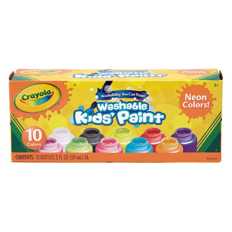 Crayola Washable Neon Kids Paint Multi-Coloured 10 Pack, , hi-res