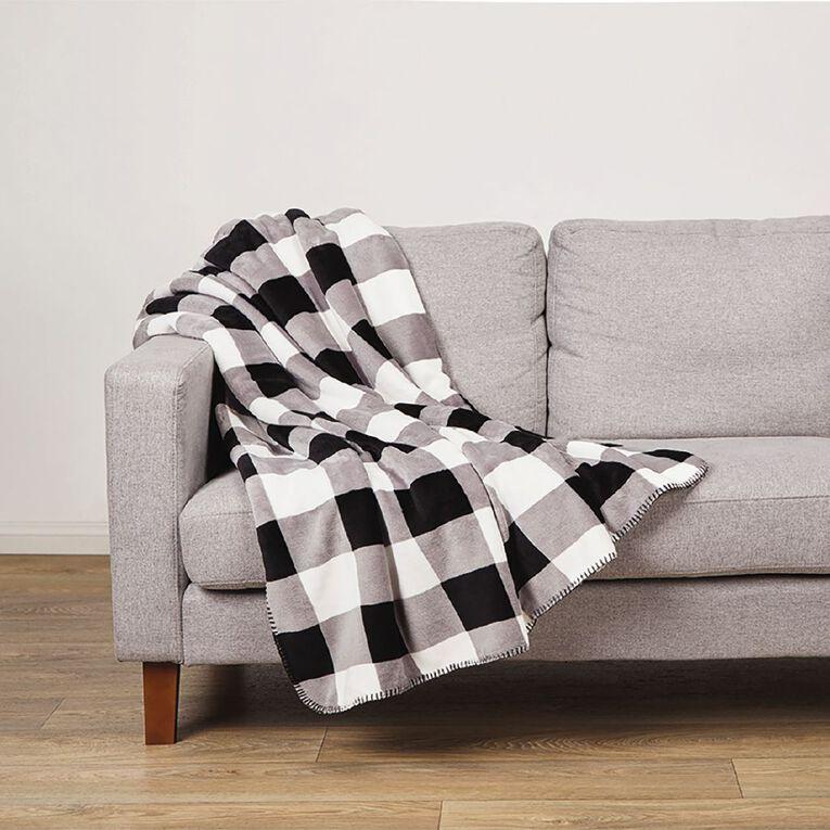 Living & Co Flannel Printed Sherpa Throw Charcoal Black 127cm x 152cm, Black, hi-res