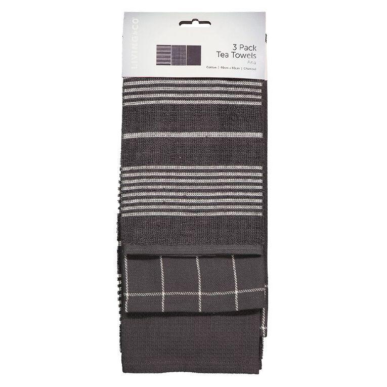 Living & Co Aria Tea Towel Set 3 Pack Charcoal 40cm x 65cm, , hi-res
