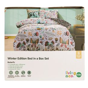Living & Co Kids Bed In a Box Set Butterfly Pink Single