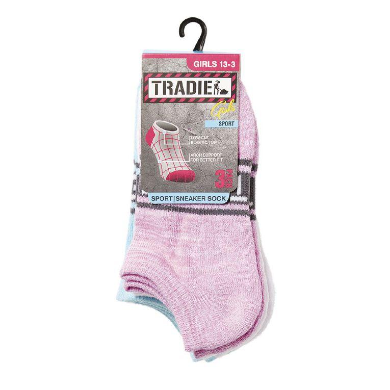 Tradie Girls' No Show Socks 3 Pack, Purple, hi-res