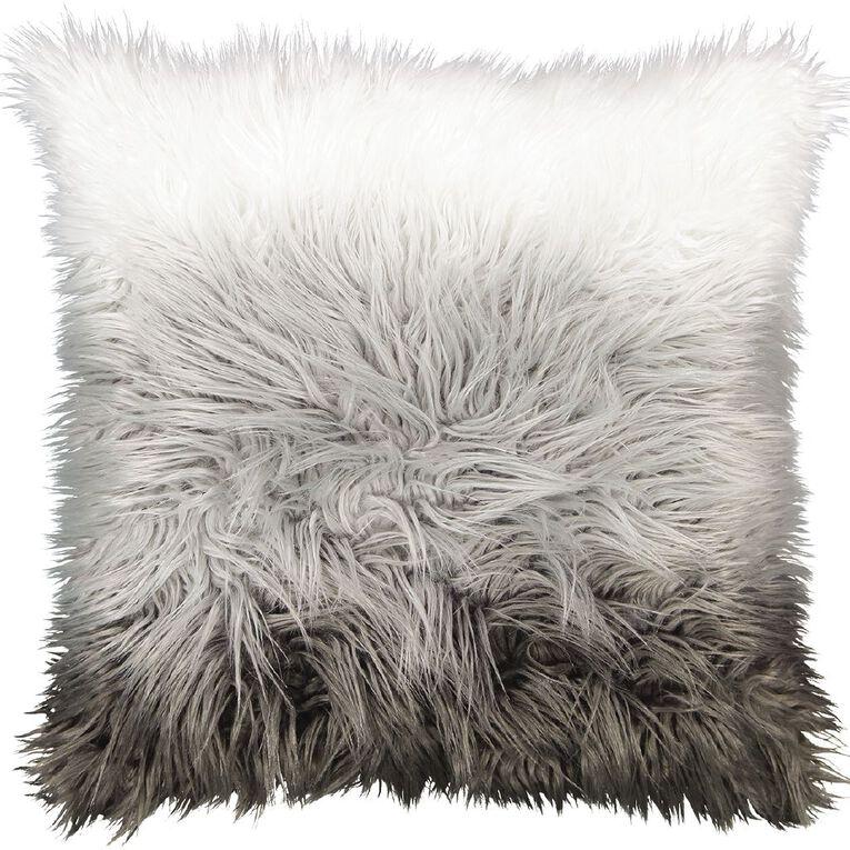 Living & Co Faux Fur Floor Cushion Ombre Grey 60cm x 60cm, Grey, hi-res