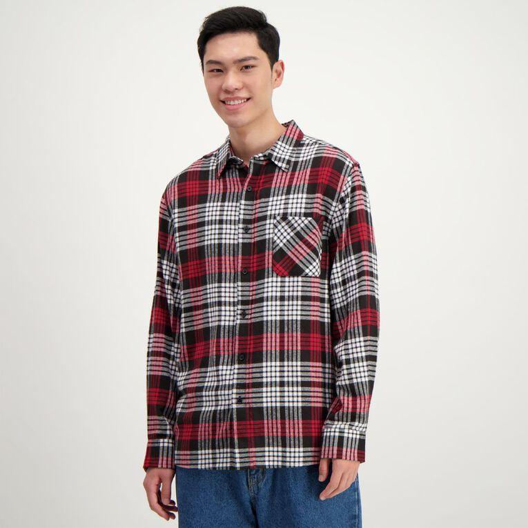 H&H Men's Long Sleeve Flannelette Shirt, Red, hi-res