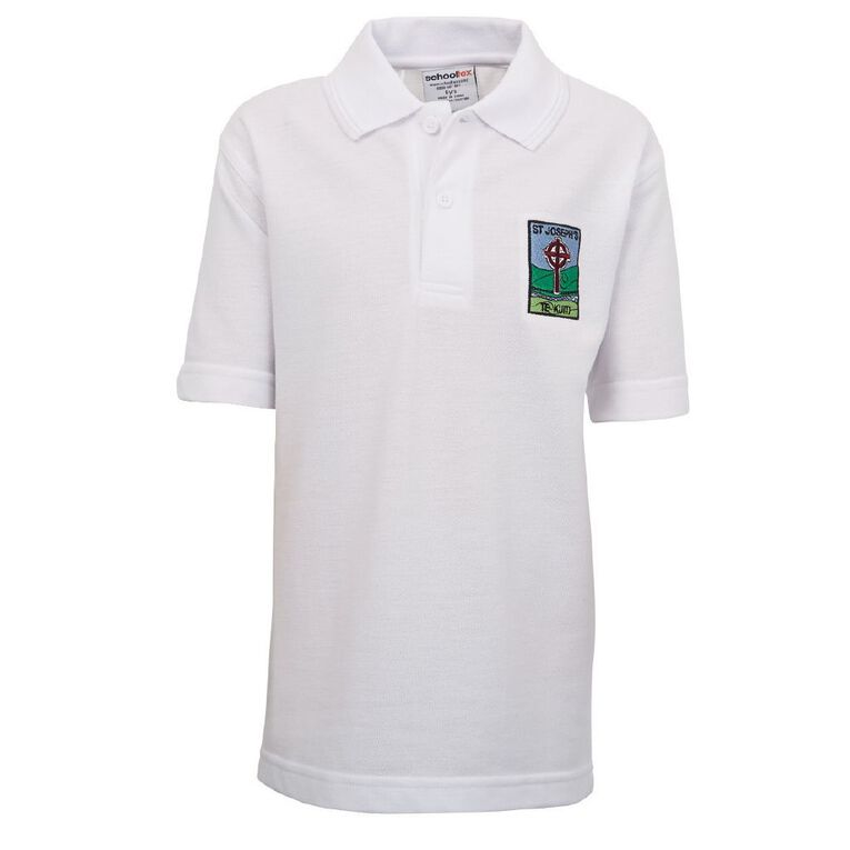 Schooltex St Joseph's Te Kuiti Short Sleeve Polo, White, hi-res