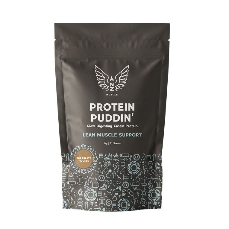 NZ Muscle Protein Puddin Chocolate Mousse 1Kg, , hi-res
