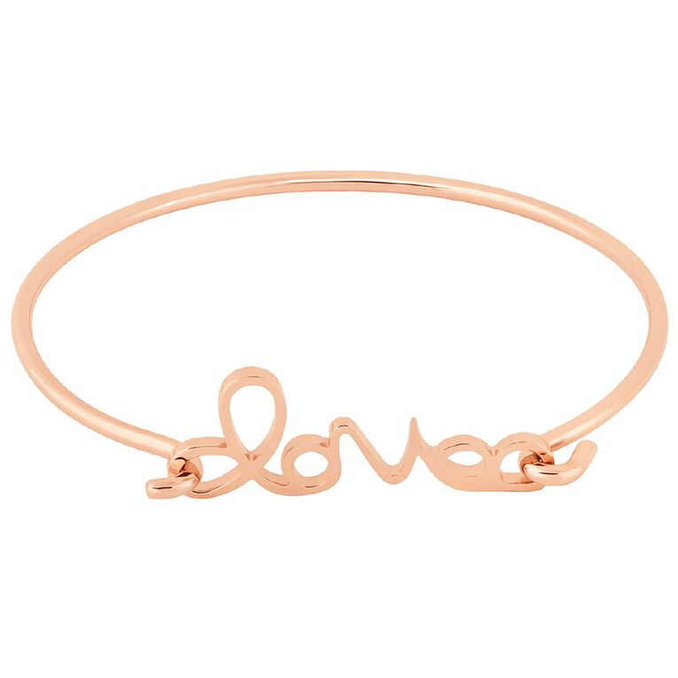 Stainless Steel Rose Gold Plated Love Hook Bangle, , hi-res