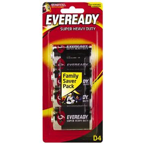 Eveready Super Heavy Duty Batteries D 4 Pack