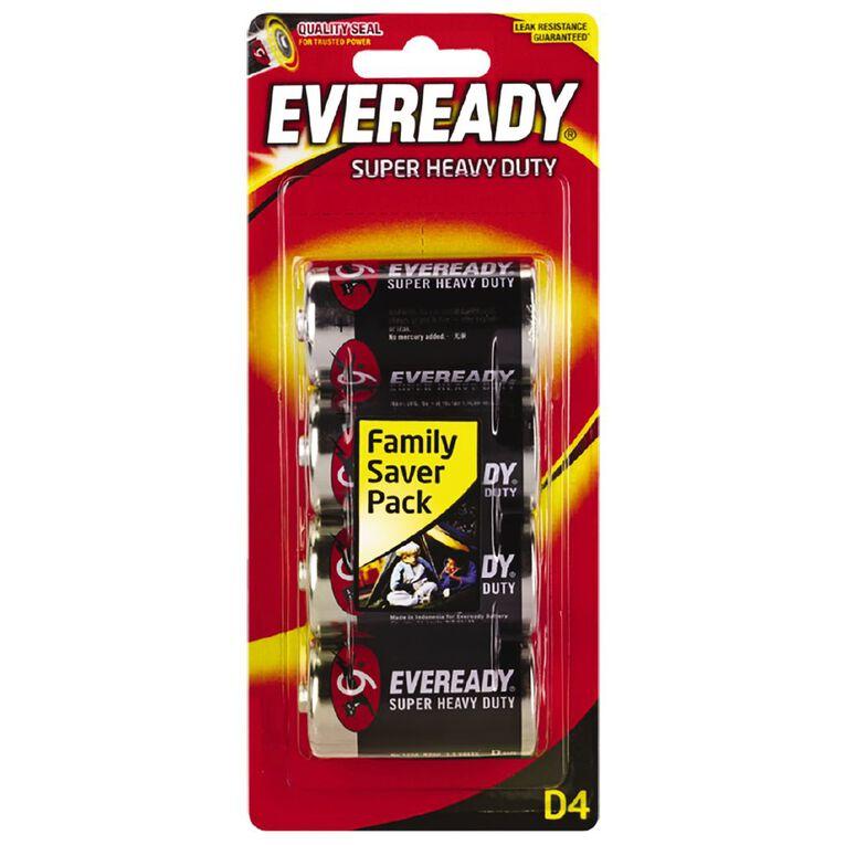 Eveready Super Heavy Duty Batteries D 4 Pack, , hi-res