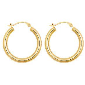 9ct Gold Medium Plain Hoop Earrings