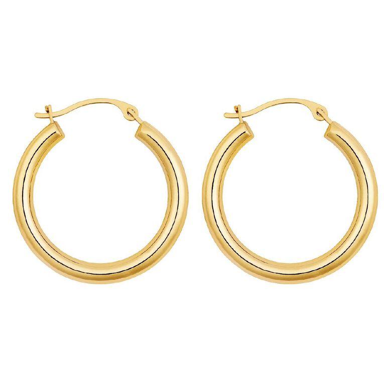 9ct Gold Medium Plain Hoop Earrings, , hi-res