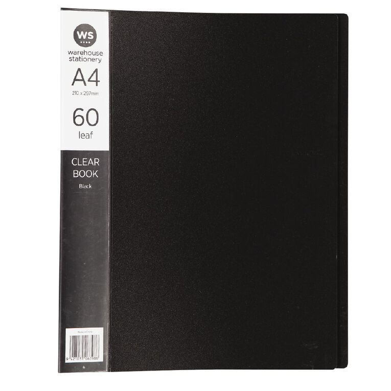 WS Clear Book 60 Leaf Black A4, , hi-res