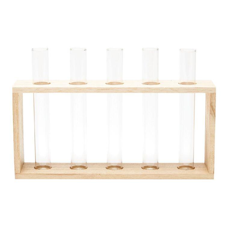 Living & Co Wooden Multi Tube Vase Set Natural, , hi-res