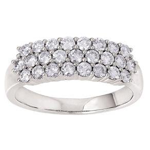 1 Carat Diamond 9ct Gold 3 Row Dress Ring