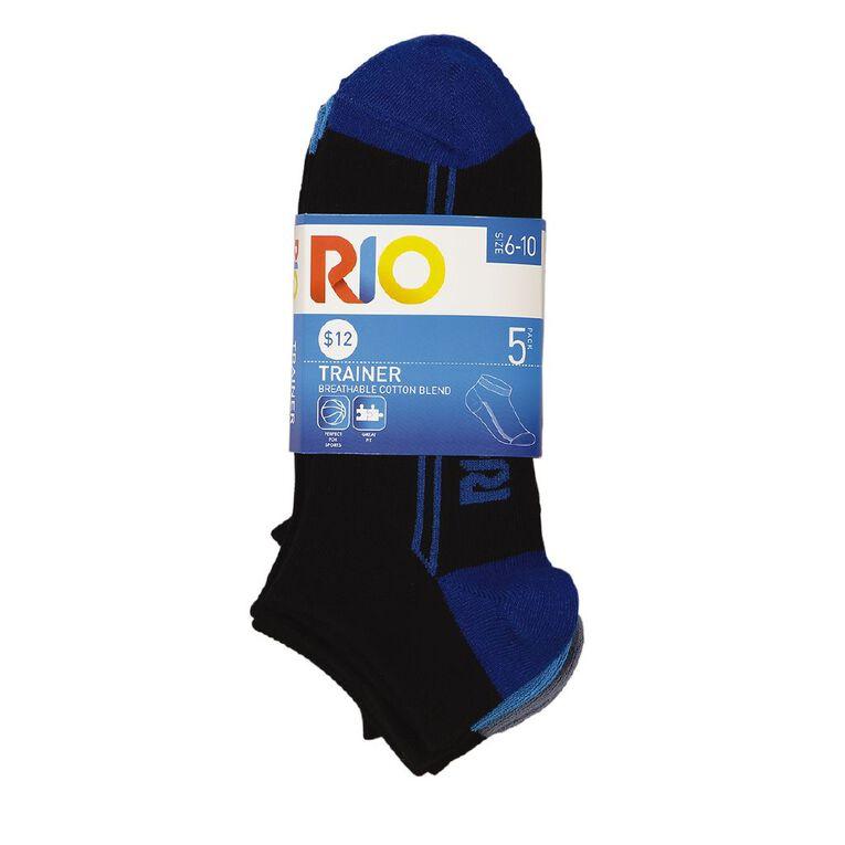 Rio Men's Trainer Liner Socks 5 Pack, Black, hi-res