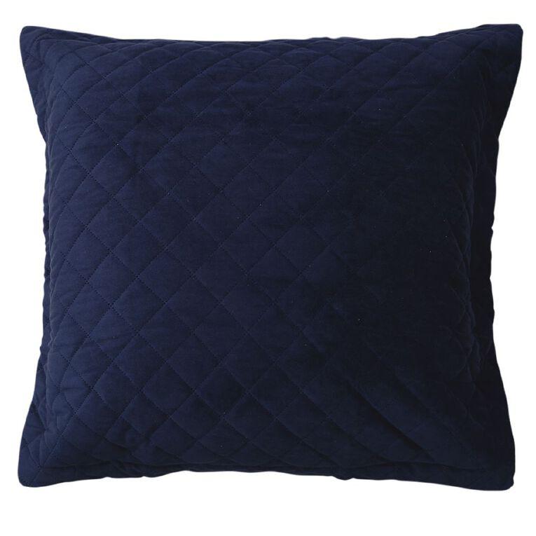 Living & Co Pillowcase Euro Velvet Pinsonic Navy 65cm x 65cm, , hi-res