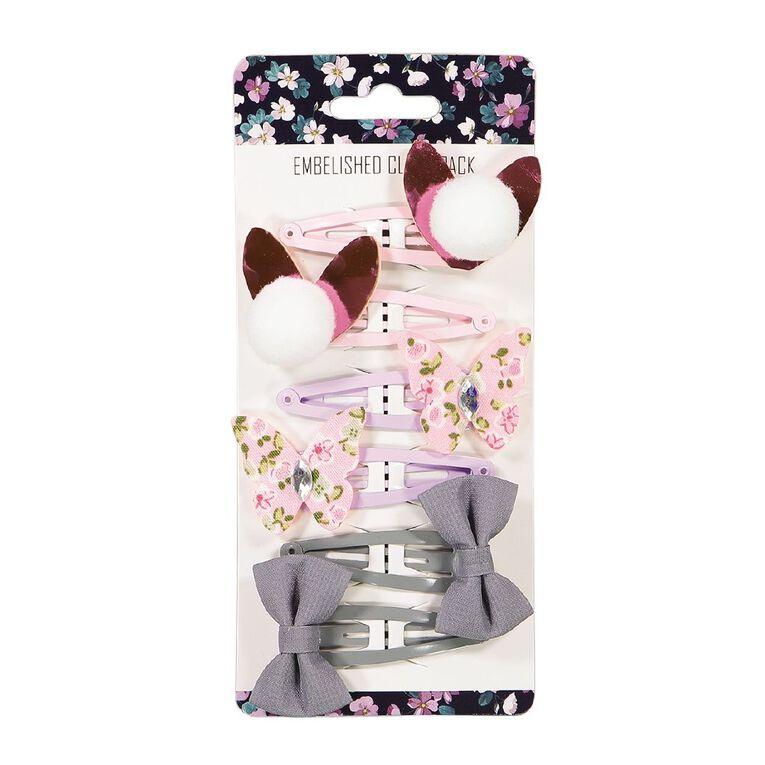 Embellished Clip 6 Pack, , hi-res