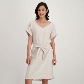H&H Women's Belted Linen Blend Dress
