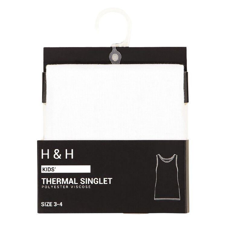 H&H Kids' Polyester Viscose Thermal Singlet, White, hi-res