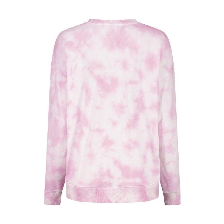 H&H Women's Long Sleeve Tie Dye Crew, Pink Light, hi-res