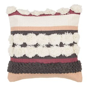 Living & Co Luxe Tufted Circle Cushion Pomegranate 45cm x 45cm