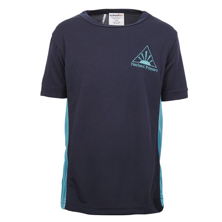 Schooltex Nayland Sports Tee with Embroidery, Navy Jade, hi-res