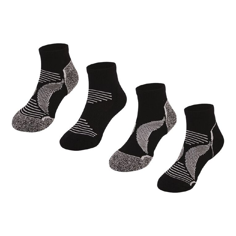 Active Intent Kids' Low Cut Socks 4 Pack, Black, hi-res
