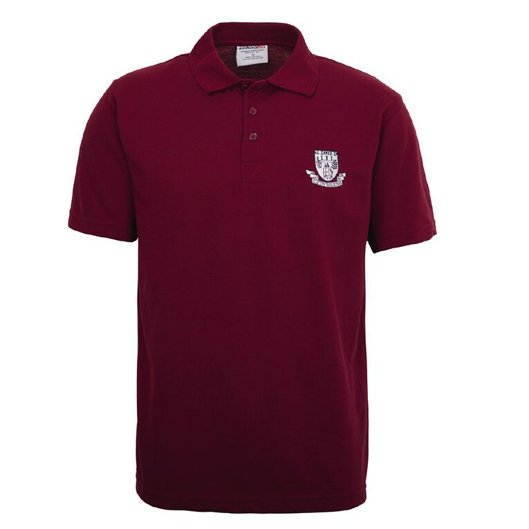 Schooltex Clayton Park Short Sleeve Polo with Embroidery, Burgundy, hi-res