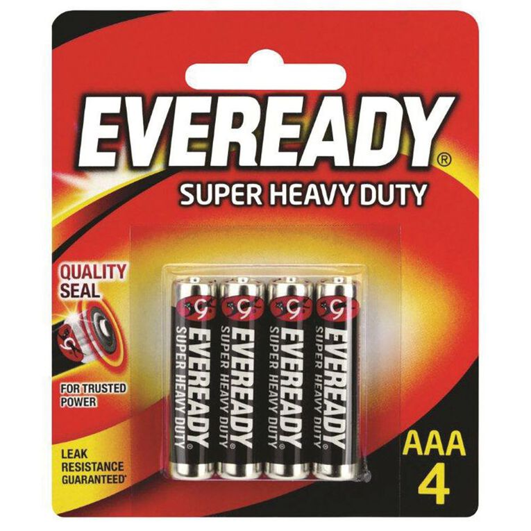 Eveready Super Heavy Duty Batteries AAA 4 Pack, , hi-res