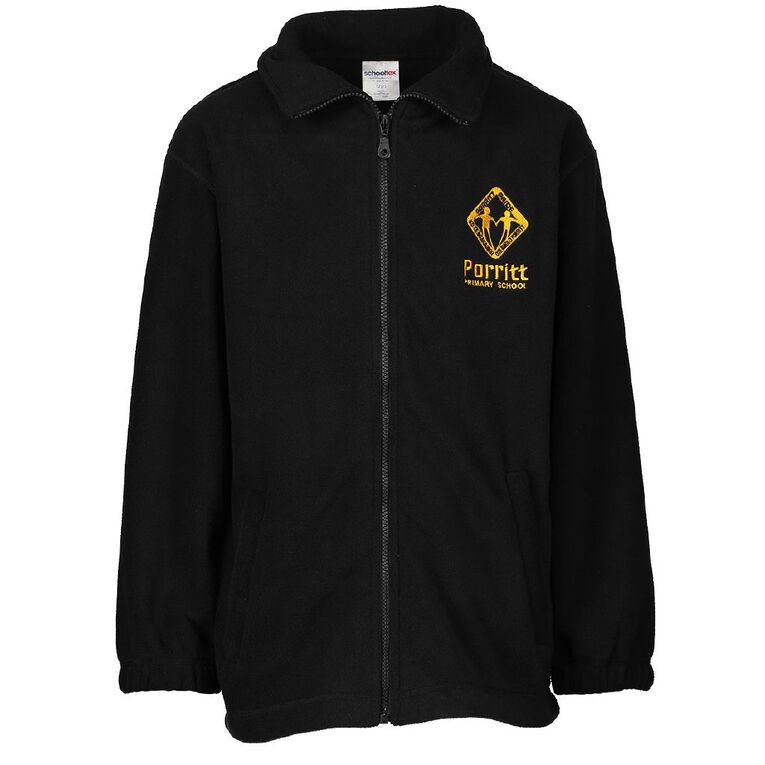 Schooltex Porritt Primary Polar Fleece Jacket with Embroidery, Black, hi-res