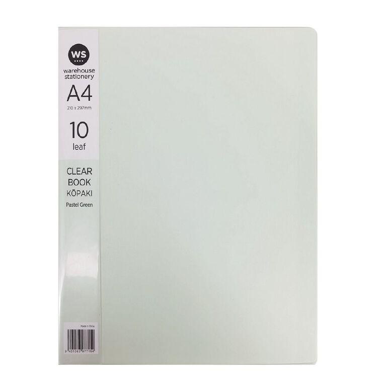 WS Clear Book 10 Leaf Pastel Green A4, , hi-res