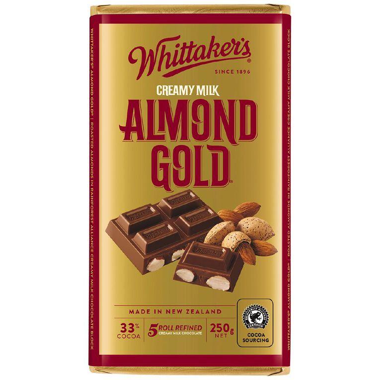 Whittaker's Almond Gold Block 250g, , hi-res