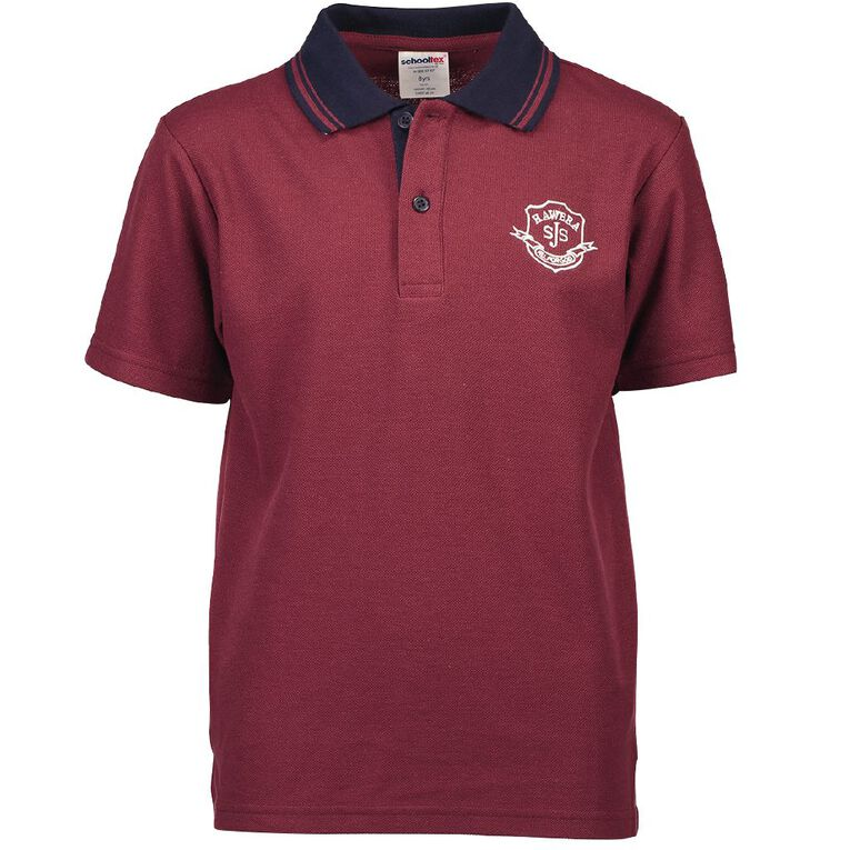Schooltex St Josephs Hawera Polo with Embroidery, Burgundy/Navy, hi-res