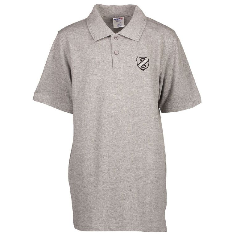 Schooltex Chaucer Short Sleeve Polo with Embroidery, Grey Marle, hi-res