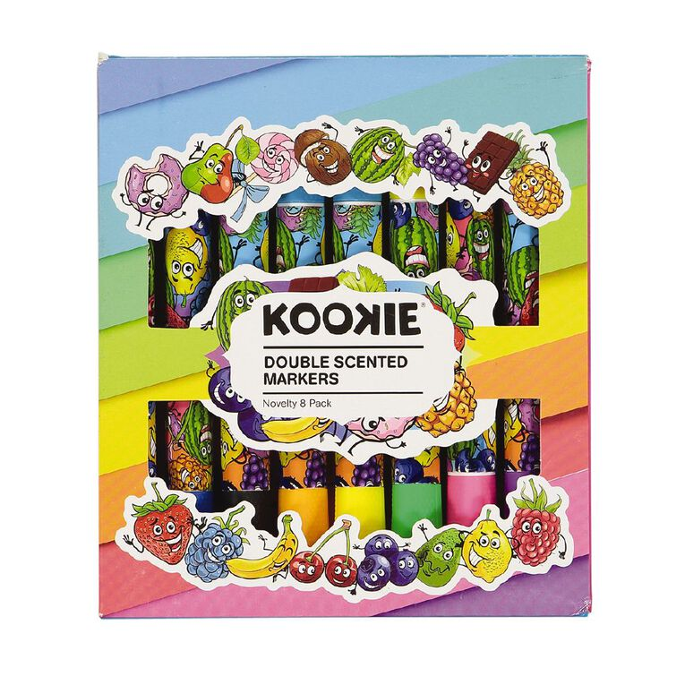 Kookie Novelty Markers Double Ended Scented 8 Pack Fruits Multi-Coloured, , hi-res