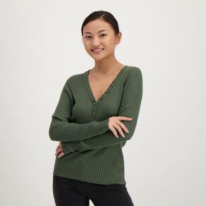 H&H Women's Long Sleeve Rib Tort Button Jumper