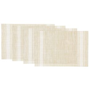 Living & Co Woven Placemat Natural With White Stripe 4 Pack 30cm x 40cm