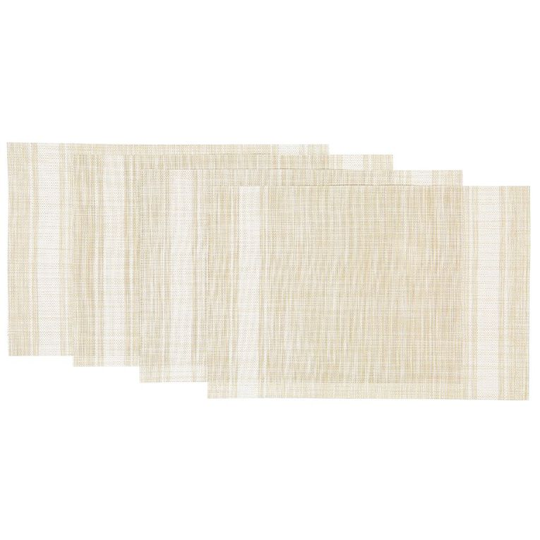 Living & Co Woven Placemat Natural With White Stripe 4 Pack 30cm x 40cm, , hi-res