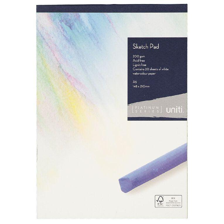 Uniti Platinum Sketch Pad 200gsm A5 20 sheets, , hi-res