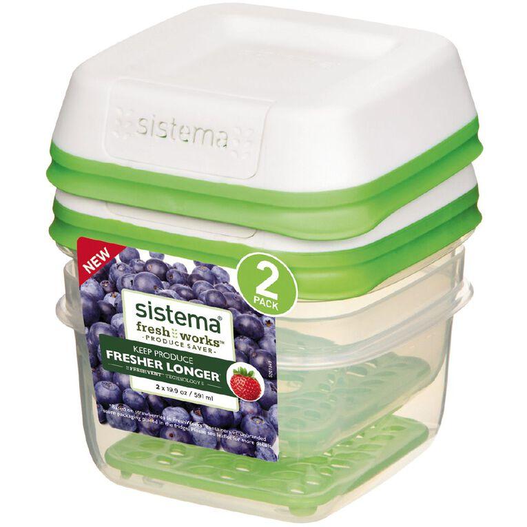 Sistema FreshWorks Small Square 591ml 2 Pack, , hi-res