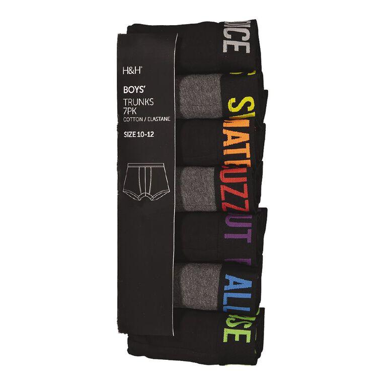 H&H Slogan Trunks 7 Pack, Black/Grey, hi-res