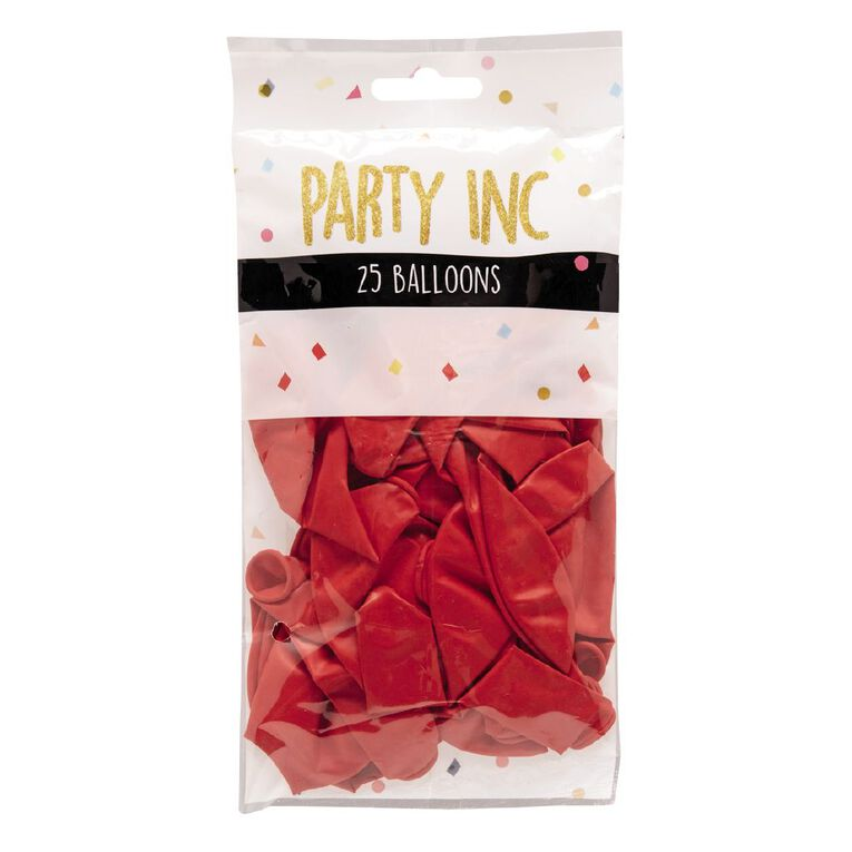 Party Inc Balloons Solid Colour Red 25cm 25 Pack, , hi-res