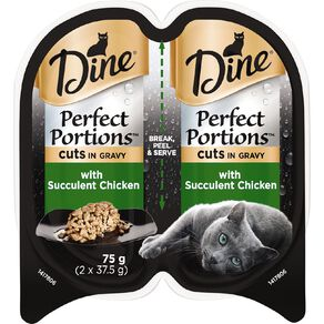 Dine Perfect Portions Wet Cat Food In Gravy With Chicken 2 x 37.5g Trays