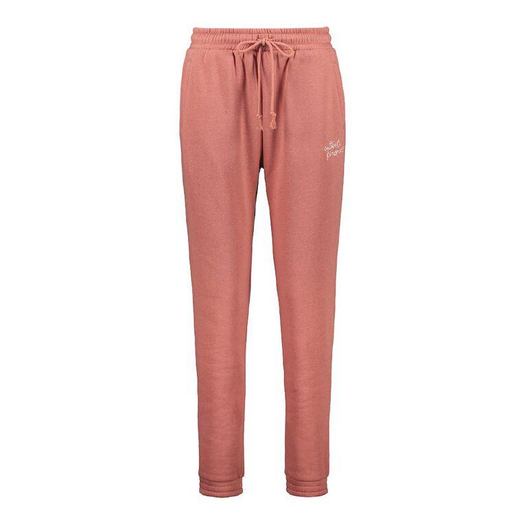 H&H Women's Elastic Fleece Trackpants, Brown Mid, hi-res