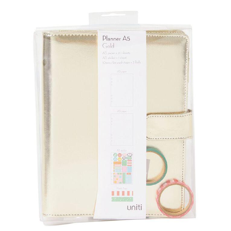 Uniti Planner A5 Metallic Gold, , hi-res