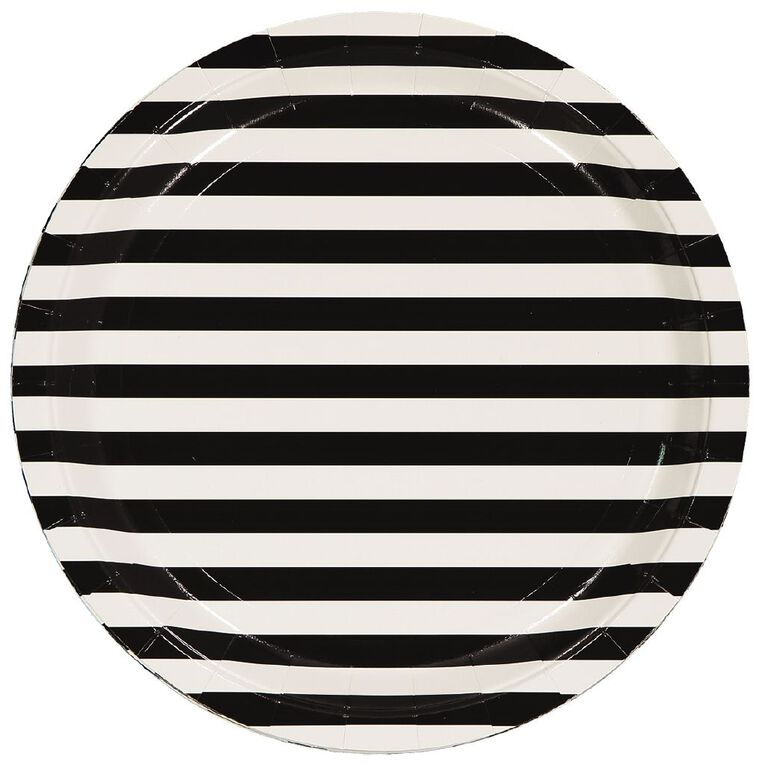 Party Inc Black & White Stripe Paper Plates 23cm 8 Pack, , hi-res