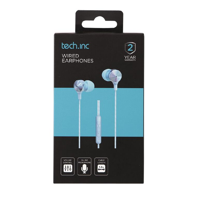 Tech.Inc Wired Earbud Light Blue, , hi-res