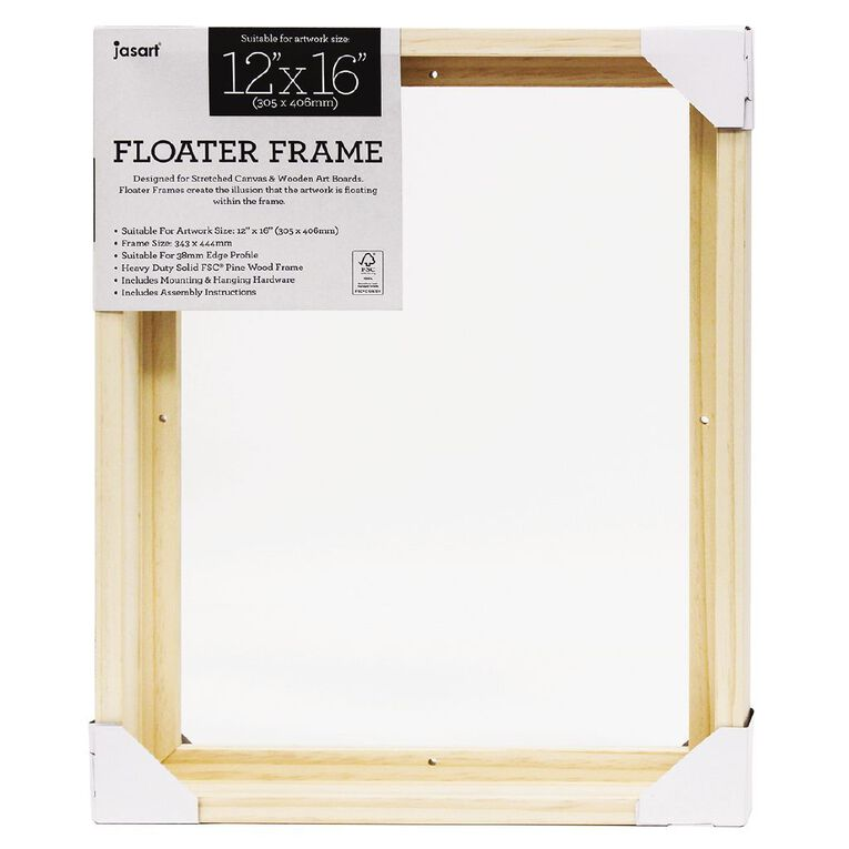 Jasart Floater Frame Thick Edge 12x16 Inches Natural, , hi-res image number null